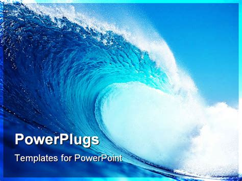 powerpoint themes ocean ppt template big blue wave surfing in the ocean title