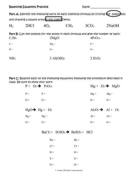 part c balance each of t balancing act worksheet answers