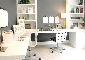 Home Office Ideas With 2 Desks White Gray Home Office Ideas