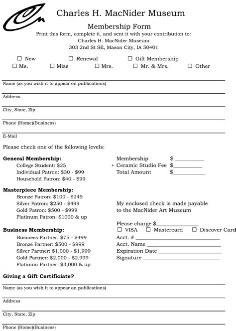 as an form membership form charles h macnider museum