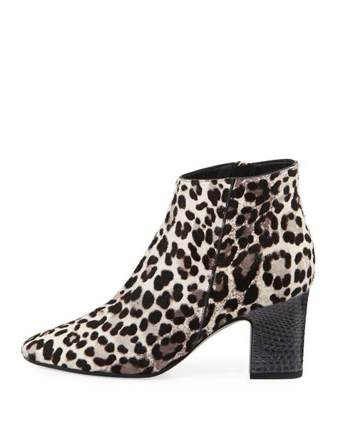 gray patterned heels tamara mellon leopard print mid heel ankle boot in gray lyst