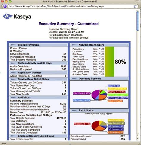 Kaseya Reports Templates Tips Tricks Customizing The Executive Summary Report