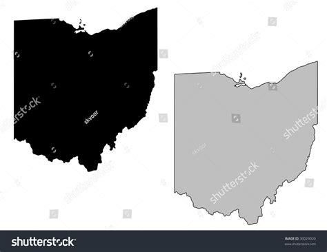 black map ohio map black white mercator projection stock vector
