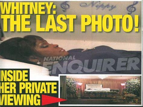upclose national enquirer whitney houston photo in whitney casket