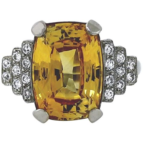 antique yellow sapphire platinum ring at 1stdibs