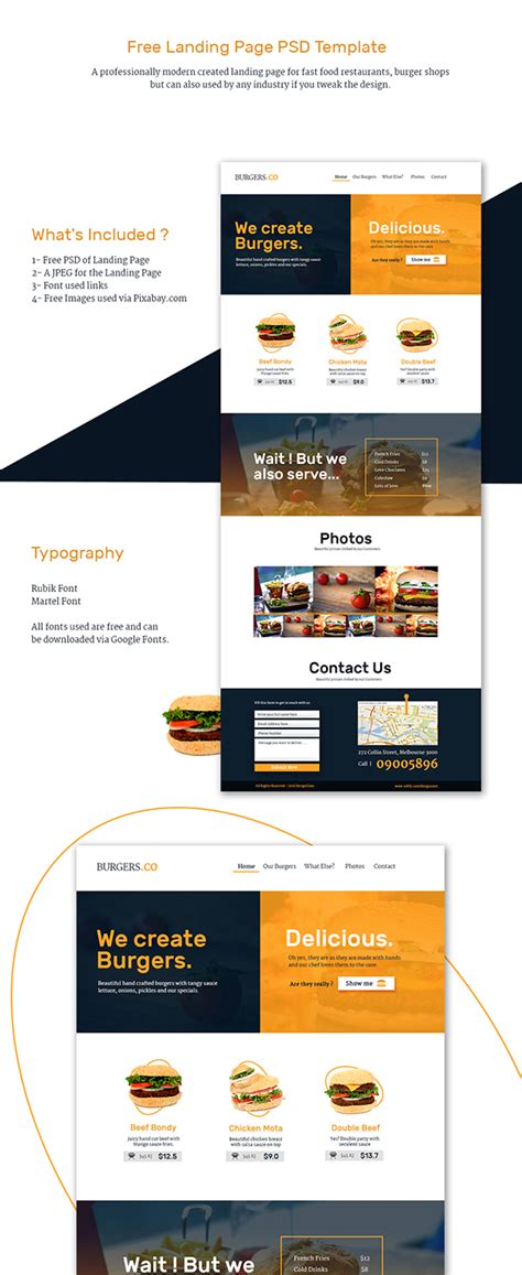 Free Landing Page Template Restaurant And Fast Food On Behance Recruitment Landing Page Template