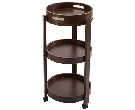 compact furniture round side table 3 tray top shelves solid wood wheeled