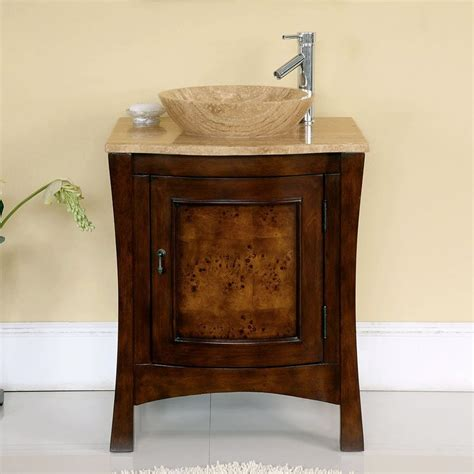 vanity top inch for vessel sink lowes bathroom shop silkroad exclusive chestnut vessel single sink bathroom vanity with travertine