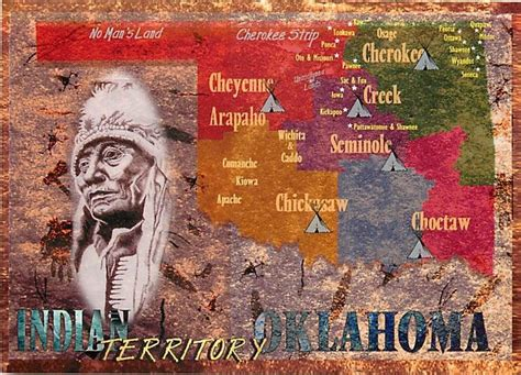 american tribes in oklahoma by map postcard of oklahoma american tribes map 3 ebay