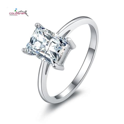 emerald cut solitaire 925 silver engagement ring wedding