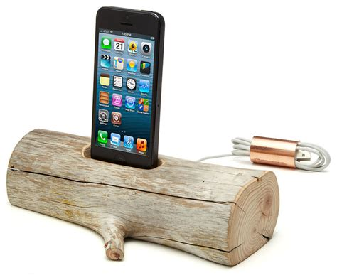 Rustic Desk Accessories Driftwood Iphone Charging Dock Rustic Desk Accessories By Uncommongoods