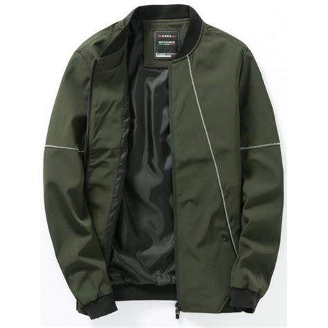 Casual Bomber Army stitching design zip up casual bomber jacket in army green