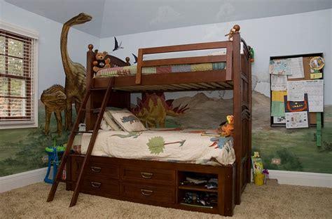 Theme Bunk Beds Bunk Bed With Storage In A Awesome Boys Bedroom With Dinosaur Theme Decoist
