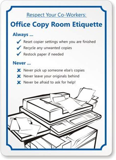Office Pantry Etiquette by Respect Your Co Workers Office Copy Room Etiquette