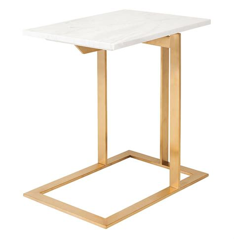 marble end table rosalie regency gold steel white marble side end
