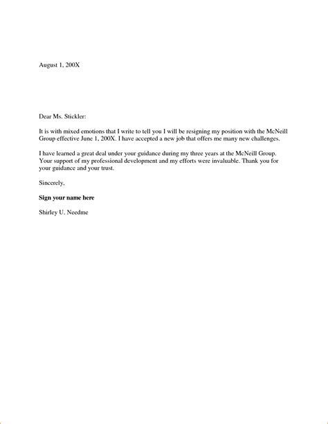 Resignation Letter Format Two Weeks Notice 6 2 weeks notice resignation letter sle basic