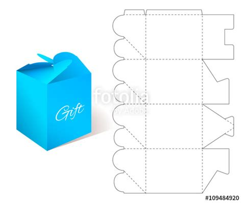 pattern box ai quot gift paper box with blueprint template illustration of