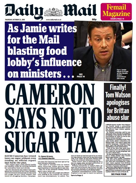 Daily Mail Detox Sugar by Daily Mail Front Page Cameron Says No To Sugar Tax