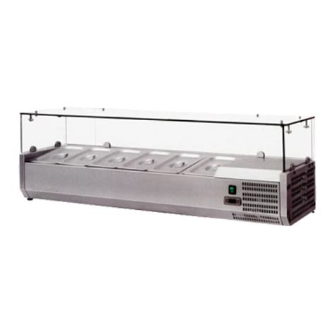 Countertop Refrigerated Prep Rail by Refrigerated Topping Rail With Sneeze Guard Countertop 59 Quot W Holds 5 1 3 Gn Pans