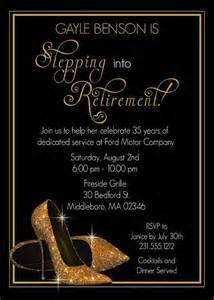 gold shoes retirement invitation from announceitfavors