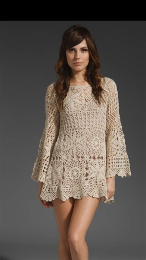 Handmade Crochet Dress - emmaoclothing handmade crochet sleeve dress beige
