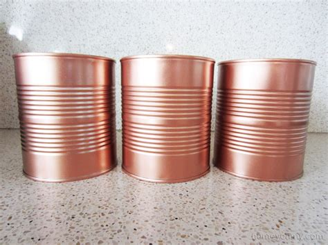 Wandfarbe Metallic Kupfer by Diy Copper Tin Can Planters And Chalkboard Tags Homey Oh My