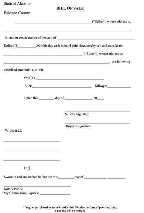 auto bill of sale template or ohio vehicle powerf attorney form bmv