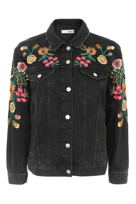 embroidery jacket moto floral embroidered denim jacket topshop