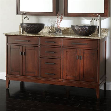 Bathroom Vanities With Vessel Sinks 60 Quot Vanity For Vessel Sinks Tobacco Pewter Guest Bathrooms And Vanity Ideas