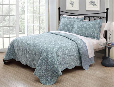 Blue Quilt Set 3 Saira Aqua Blue Quilt Set