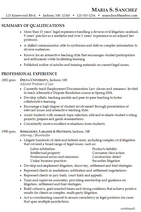 law resume for an attorney in civil litigation mediation
