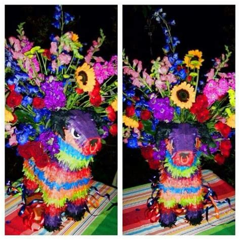 mexican themed quinceanera ideas use a pinata to hold a vase of flowers fiesta