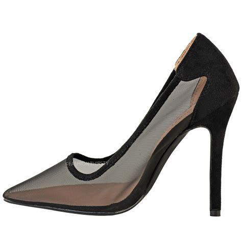 celeb high heel womens ladies mesh pumps high heel court shoes celeb