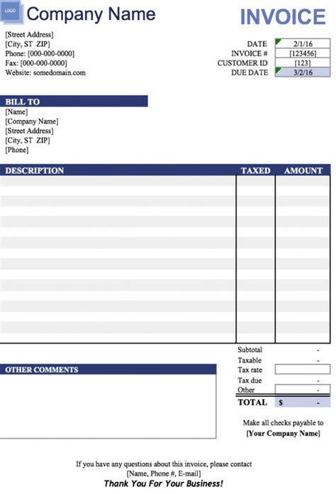 Free Blank Invoice Template Excel free blank invoice templates in microsoft excel xlsx