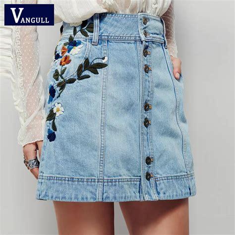 Flower Embroidered Denim Skirt aliexpress buy denim skirts 2017 summer high waist skirt casual floral embroidered