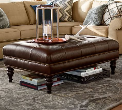 pottery barn leather ottoman coffee table martin tufted leather ottoman pottery barn
