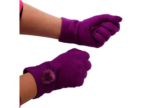 warm purple purple warm rabbit hair gloves with ball palm 8cm women s