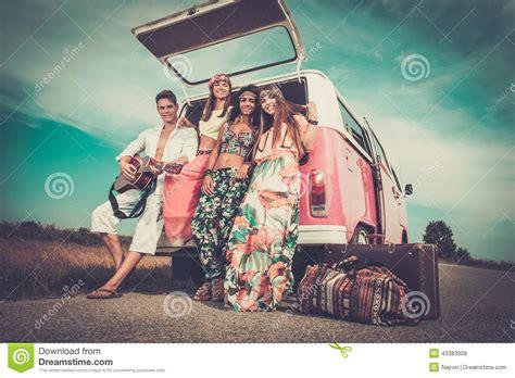 Multi Trip multi ethnic hippie friends on a road trip stock photo image 43383908
