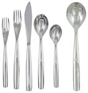 Contemporary Flatware by Ginkgo Charlie 42 Piece Stainless Steel Flatware Set