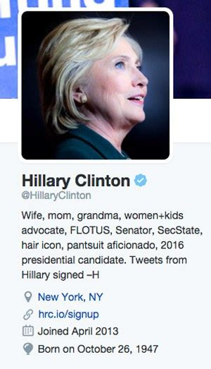 hillary clinton biography today hillary clinton updates twitter bio following conversation