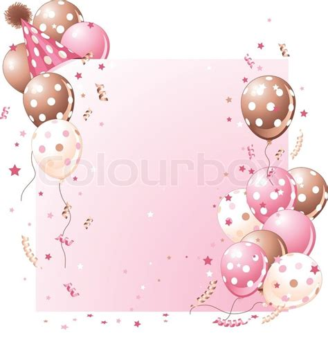 birthday pattern pink vector pink birthday card with balloons hat and plenty of copy