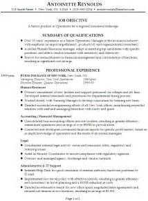 Resume Exles For Managers Position by Resume Senior Manager Operations For Insurance Brokerage