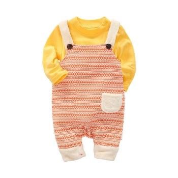 Casual Overall Set casual style sleeve bodysuit and overall set in
