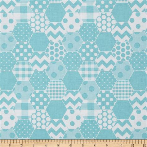 Coverlet Fabric Riley Blake Hexi Print Aqua Discount Designer Fabric