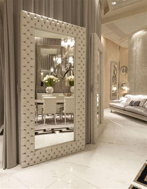 Home Interior Mirrors | luxe italian designer tufted leather floor mirror custom