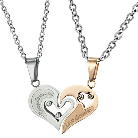 stainless steel couples necklaces pendants set