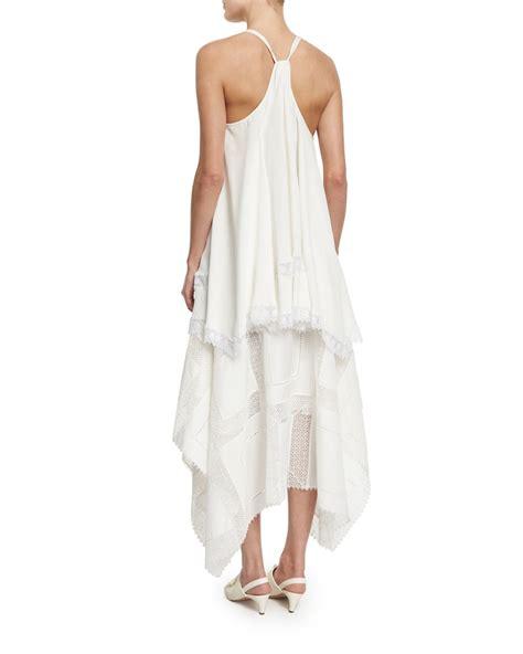 Blouse V Halter Crepe derek lam silk crepe halter neck top in white lyst