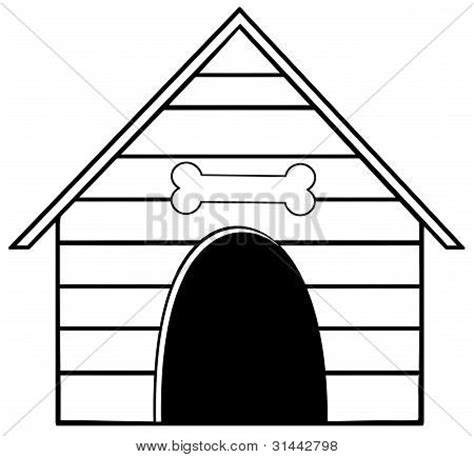 dog house coloring page printable picture or photo of black and white dog house with a bone