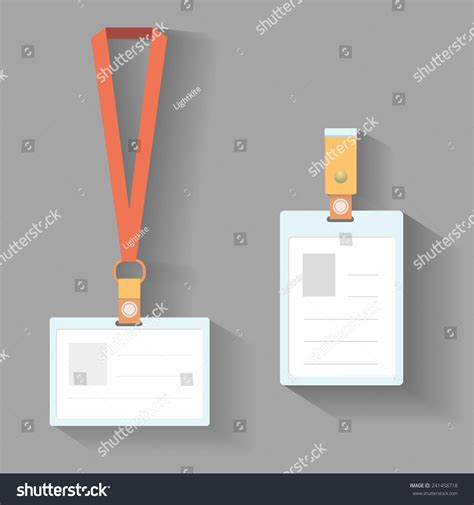 lanyard card size template lanyard badges template flat design with shadow stock
