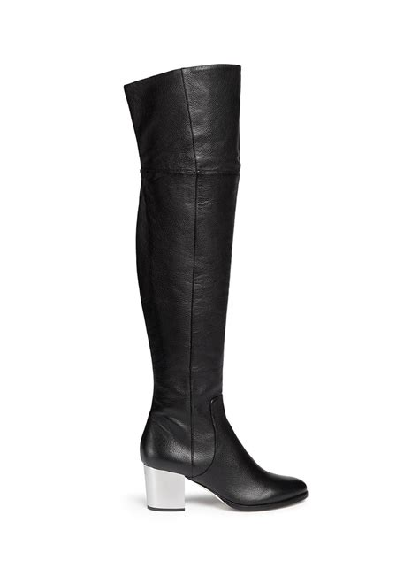 jimmy choo mercer thigh high leather boots in black lyst